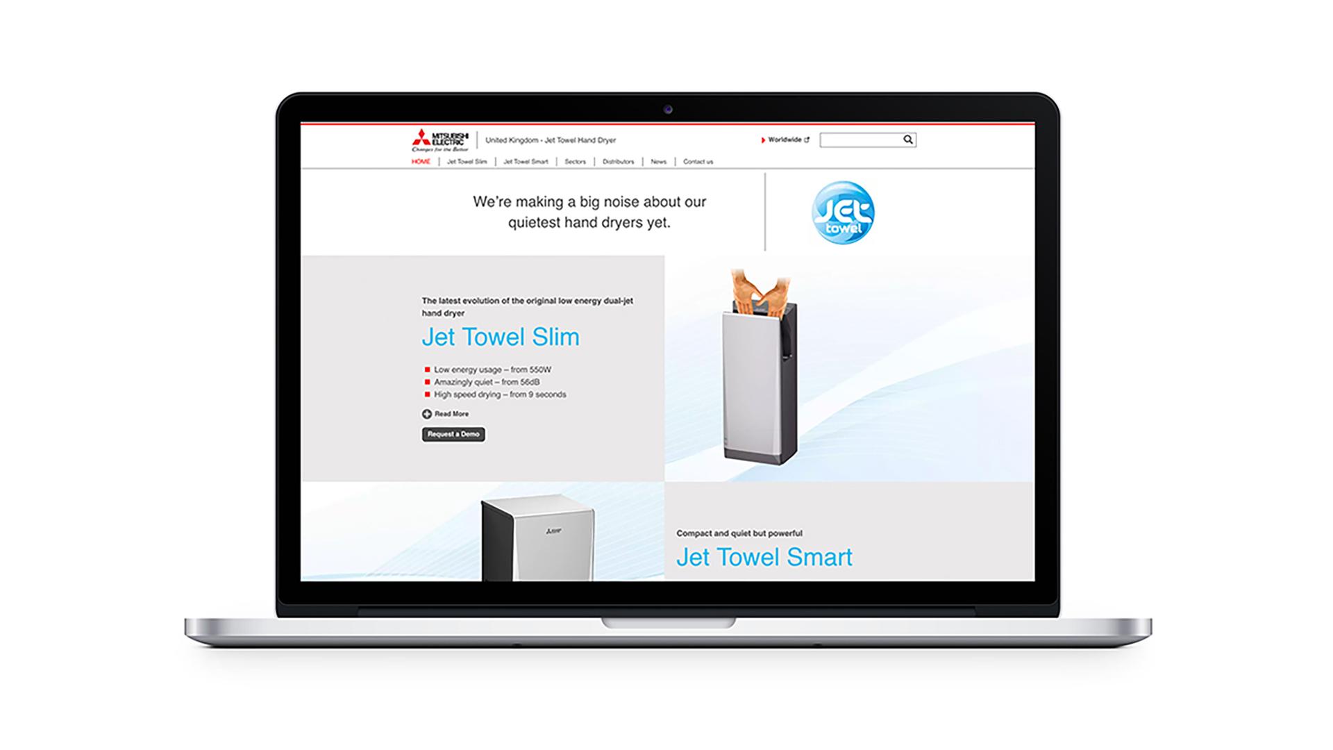 web design for Mitsubishi Jet Towels